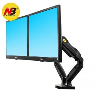 North Bayou Dual Monitor Desk Mount Stand Full Motion Swivel Computer Monitor Arm Gas Spring fits 2 Screens up to 27''